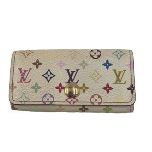 Authentic Louis Vuitton White Multicolor Key Case